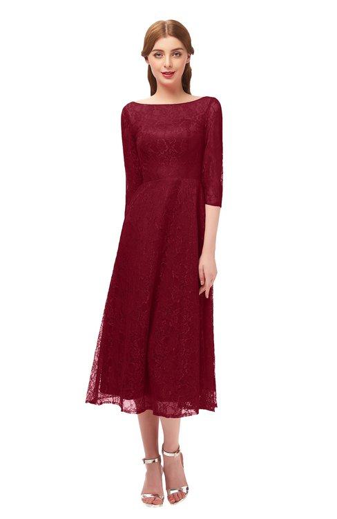 ColsBM Lauryn Rhubarb Bridesmaid Dresses A-line Lace Cute Tea Length Sabrina Three-fourths Length Sleeve