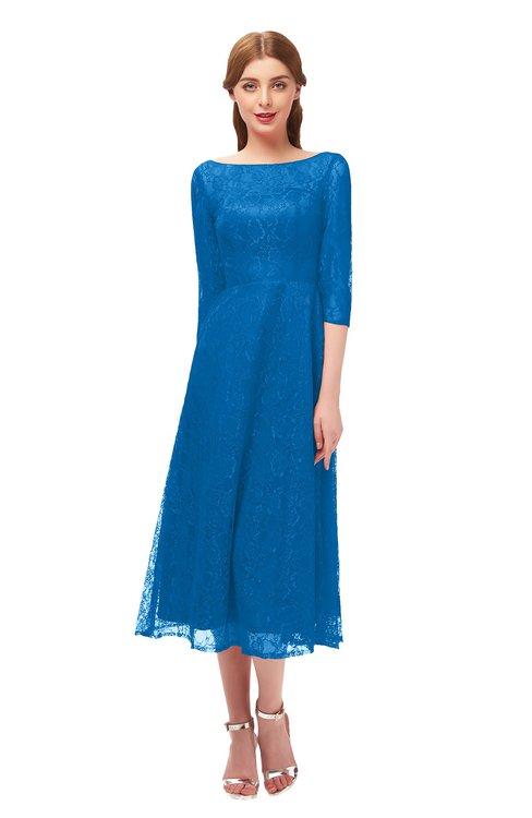 ColsBM Lauryn Royal Blue Bridesmaid Dresses A-line Lace Cute Tea Length Sabrina Three-fourths Length Sleeve