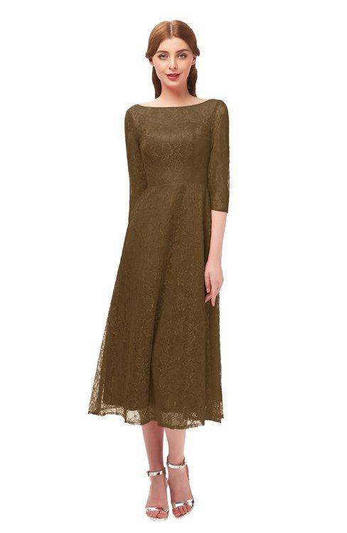 ColsBM Lauryn Sepia Bridesmaid Dresses A-line Lace Cute Tea Length Sabrina Three-fourths Length Sleeve