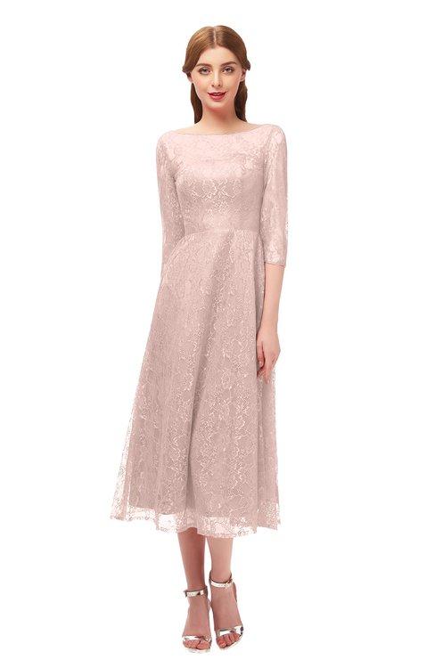 ColsBM Lauryn Silver Peony Bridesmaid Dresses A-line Lace Cute Tea Length Sabrina Three-fourths Length Sleeve