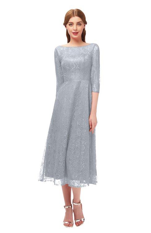 ColsBM Lauryn Silver Bridesmaid Dresses A-line Lace Cute Tea Length Sabrina Three-fourths Length Sleeve