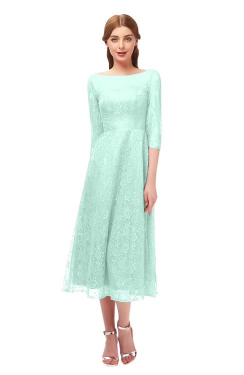 ColsBM Lauryn Soothing Sea Bridesmaid Dresses A-line Lace Cute Tea Length Sabrina Three-fourths Length Sleeve