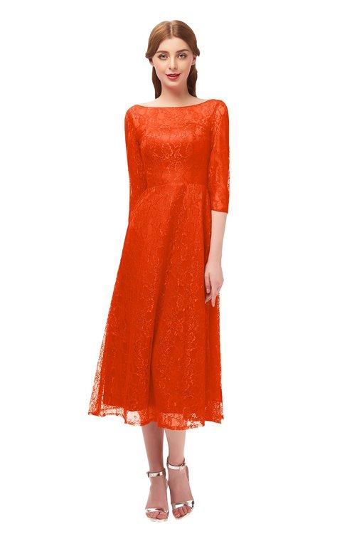ColsBM Lauryn Spicy Orange Bridesmaid Dresses A-line Lace Cute Tea Length Sabrina Three-fourths Length Sleeve