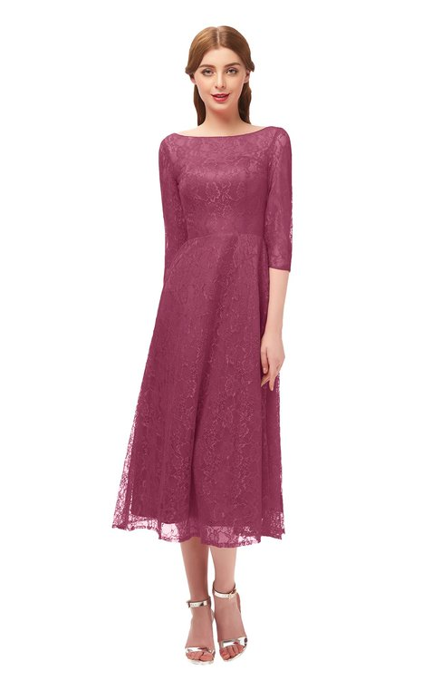 ColsBM Lauryn Violet Quartz Bridesmaid Dresses A-line Lace Cute Tea Length Sabrina Three-fourths Length Sleeve
