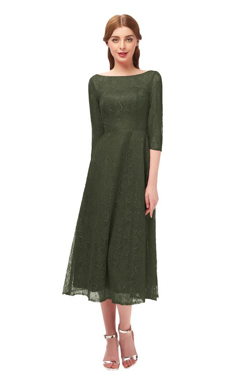 ColsBM Lauryn Winter Moss Bridesmaid Dresses A-line Lace Cute Tea Length Sabrina Three-fourths Length Sleeve