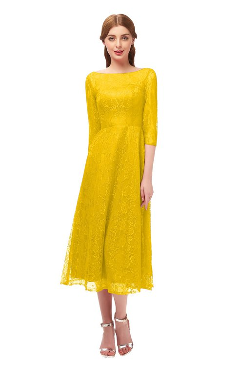 ColsBM Lauryn Yellow Bridesmaid Dresses A-line Lace Cute Tea Length Sabrina Three-fourths Length Sleeve