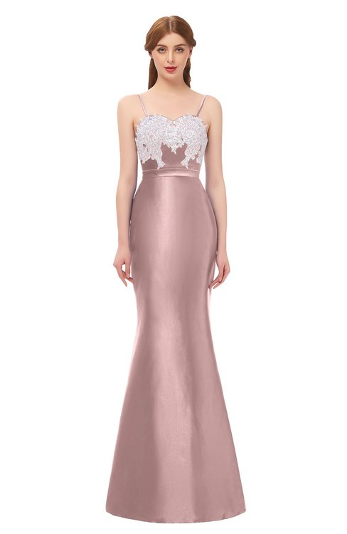 ColsBM Greer Blush Pink Bridesmaid Dresses Trumpet Zip up Modern Court Train Spaghetti Sash