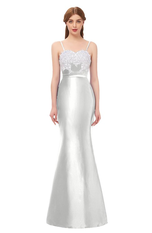 ColsBM Greer Cloud White Bridesmaid Dresses Trumpet Zip up Modern Court Train Spaghetti Sash