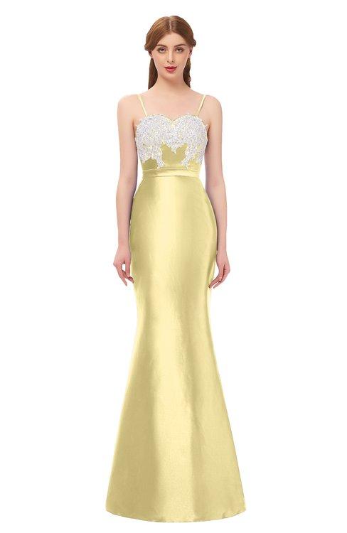 ColsBM Greer Daffodil Bridesmaid Dresses Trumpet Zip up Modern Court Train Spaghetti Sash