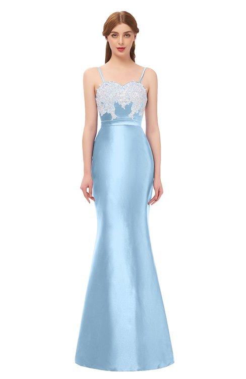 ColsBM Greer Ice Blue Bridesmaid Dresses Trumpet Zip up Modern Court Train Spaghetti Sash