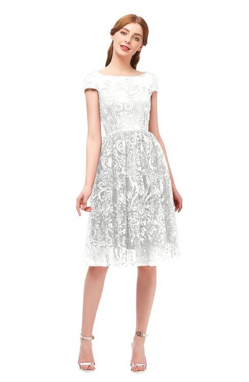 ColsBM Arlie Cloud White Bridesmaid Dresses Lace Classic Zipper Knee Length A-line Short Sleeve