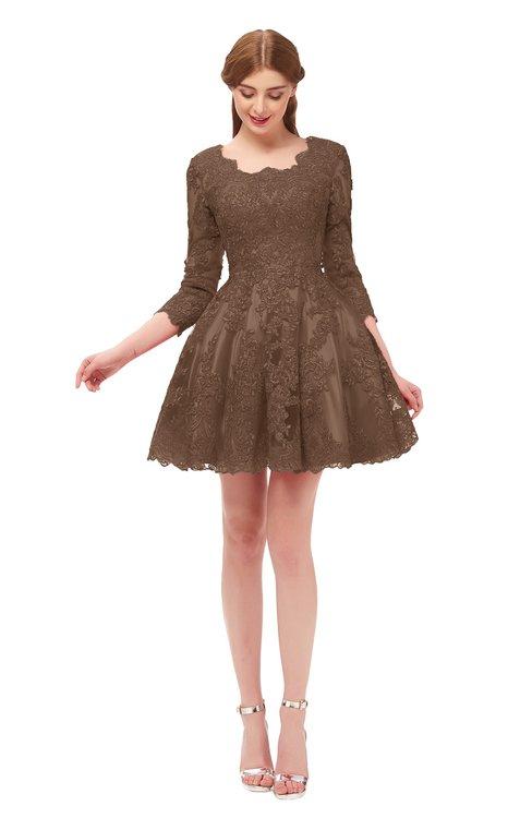 ColsBM Cass Bronze Brown Bridesmaid Dresses Zipper Three-fourths Length Sleeve Baby Doll Cute Mini Lace