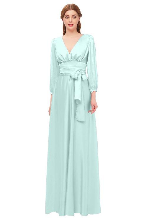 ColsBM Martha Blue Glass Bridesmaid Dresses Floor Length Ruching Zip up V-neck Long Sleeve Glamorous