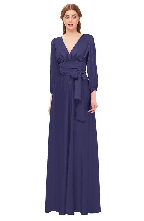 ColsBM Martha Blue Ribbon Bridesmaid Dresses Floor Length Ruching Zip up V-neck Long Sleeve Glamorous