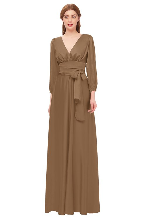ColsBM Martha Bronze Brown Bridesmaid Dresses Floor Length Ruching Zip up V-neck Long Sleeve Glamorous