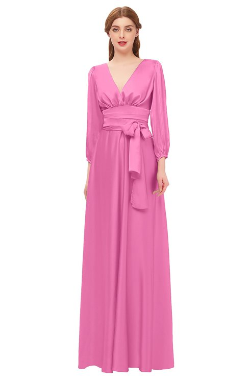 ColsBM Martha Carnation Pink Bridesmaid Dresses Floor Length Ruching Zip up V-neck Long Sleeve Glamorous