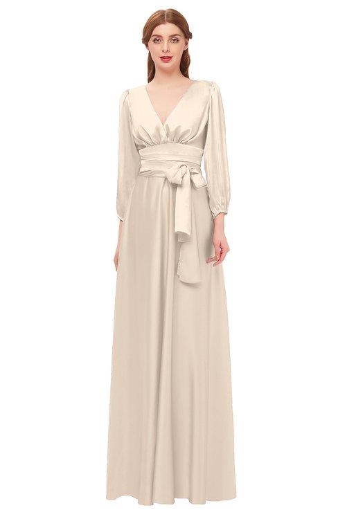 ColsBM Martha Silver Peony Bridesmaid Dresses Floor Length Ruching Zip up V-neck Long Sleeve Glamorous