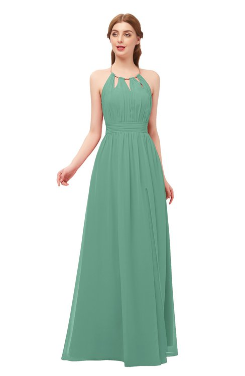ColsBM Hadley Beryl Green Bridesmaid Dresses A-line Zip up Halter Sexy Floor Length Sleeveless