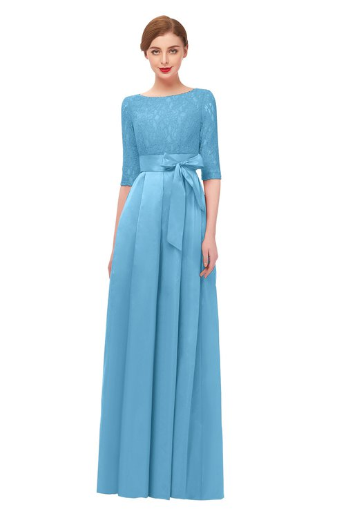 ColsBM Aisha Alaskan Blue Bridesmaid Dresses Sash A-line Floor Length Mature Sabrina Zipper