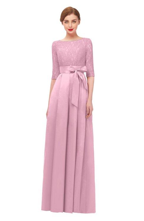 ColsBM Aisha Baby Pink Bridesmaid Dresses Sash A-line Floor Length Mature Sabrina Zipper