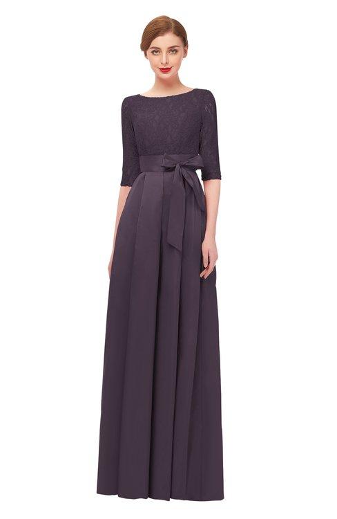 ColsBM Aisha Black Plum Bridesmaid Dresses Sash A-line Floor Length Mature Sabrina Zipper