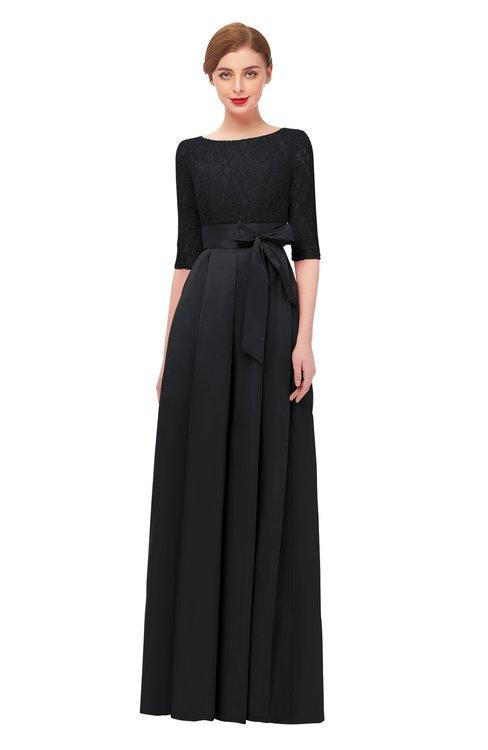 ColsBM Aisha Black Bridesmaid Dresses Sash A-line Floor Length Mature Sabrina Zipper