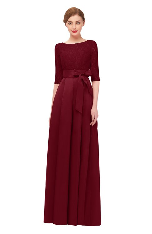 ColsBM Aisha Burgundy Bridesmaid Dresses Sash A-line Floor Length Mature Sabrina Zipper