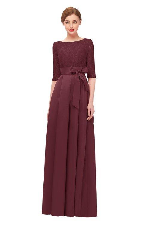 ColsBM Aisha Cabernet Bridesmaid Dresses Sash A-line Floor Length Mature Sabrina Zipper