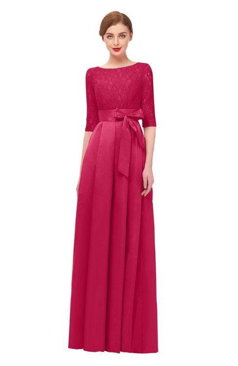 ColsBM Aisha Carmine Bridesmaid Dresses Sash A-line Floor Length Mature Sabrina Zipper