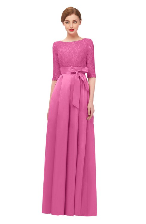 ColsBM Aisha Carnation Pink Bridesmaid Dresses Sash A-line Floor Length Mature Sabrina Zipper