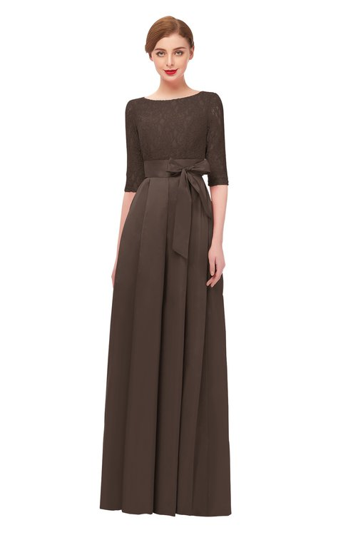 ColsBM Aisha Chestnut Brown Bridesmaid Dresses Sash A-line Floor Length Mature Sabrina Zipper