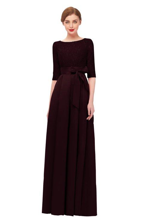 ColsBM Aisha Claret Bridesmaid Dresses Sash A-line Floor Length Mature Sabrina Zipper