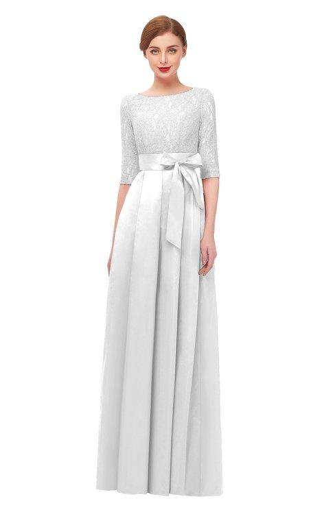 ColsBM Aisha Cloud White Bridesmaid Dresses Sash A-line Floor Length Mature Sabrina Zipper