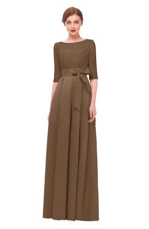 ColsBM Aisha Cognac Bridesmaid Dresses Sash A-line Floor Length Mature Sabrina Zipper