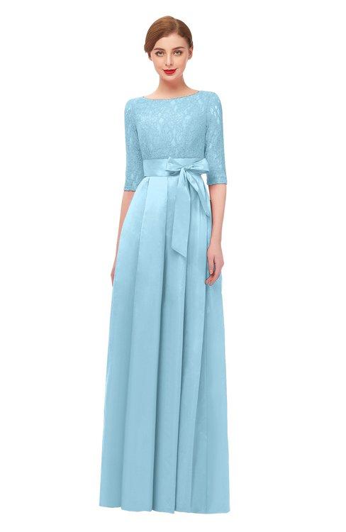 ColsBM Aisha Cool Blue Bridesmaid Dresses Sash A-line Floor Length Mature Sabrina Zipper
