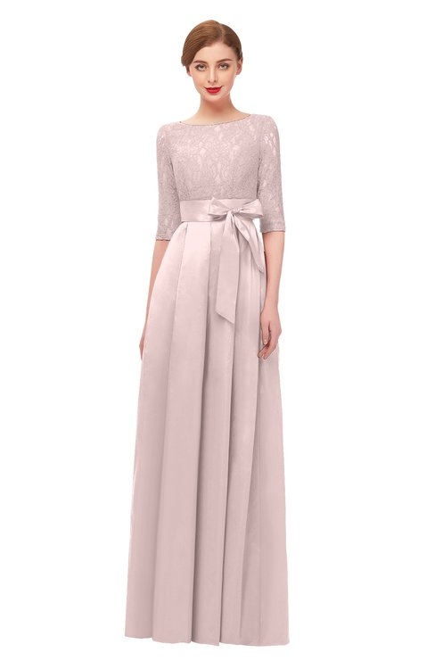 ColsBM Aisha Coral Pink Bridesmaid Dresses Sash A-line Floor Length Mature Sabrina Zipper