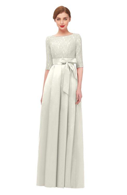 ColsBM Aisha Cream Bridesmaid Dresses Sash A-line Floor Length Mature Sabrina Zipper