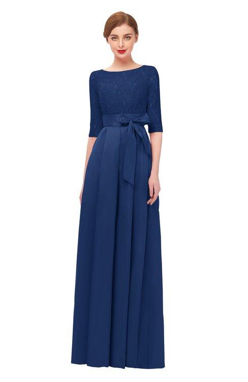 ColsBM Aisha Dark Blue Bridesmaid Dresses Sash A-line Floor Length Mature Sabrina Zipper