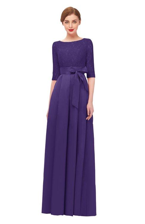 ColsBM Aisha Dark Purple Bridesmaid Dresses Sash A-line Floor Length Mature Sabrina Zipper