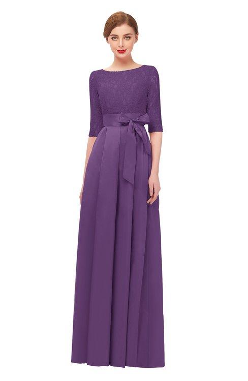 ColsBM Aisha Eggplant Bridesmaid Dresses Sash A-line Floor Length Mature Sabrina Zipper
