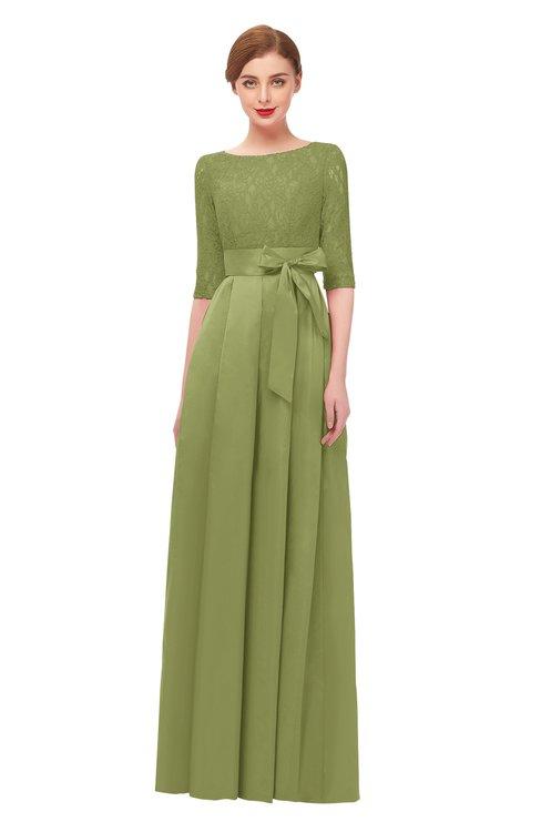 ColsBM Aisha Fern Bridesmaid Dresses Sash A-line Floor Length Mature Sabrina Zipper