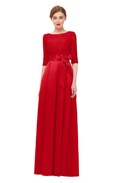 ColsBM Aisha Fiery Red Bridesmaid Dresses Sash A-line Floor Length Mature Sabrina Zipper