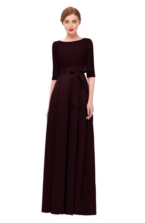 ColsBM Aisha Fig Bridesmaid Dresses Sash A-line Floor Length Mature Sabrina Zipper