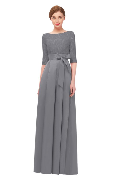 ColsBM Aisha Frost Grey Bridesmaid Dresses Sash A-line Floor Length Mature Sabrina Zipper