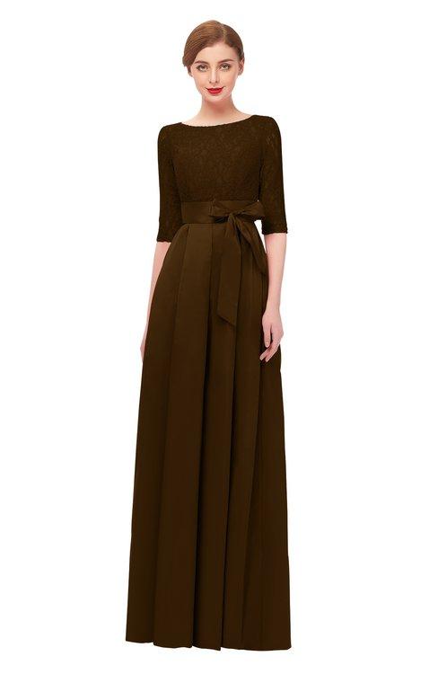 ColsBM Aisha Fudge Brown Bridesmaid Dresses Sash A-line Floor Length Mature Sabrina Zipper