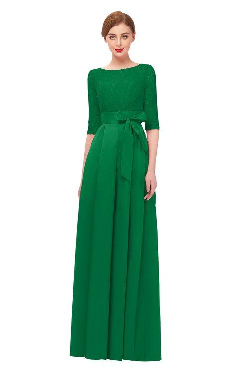 ColsBM Aisha Green Bridesmaid Dresses Sash A-line Floor Length Mature Sabrina Zipper