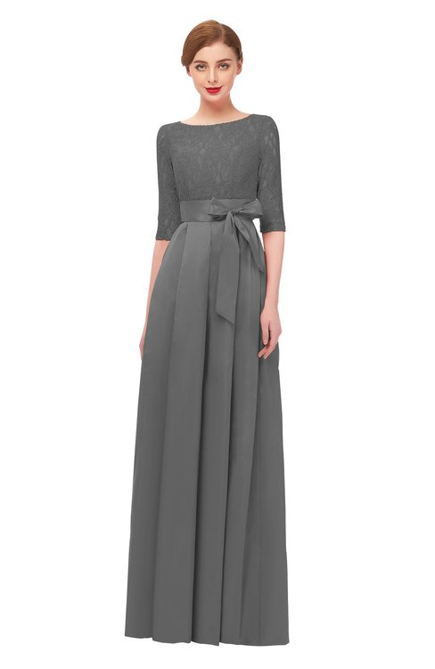 ColsBM Aisha Grey Bridesmaid Dresses Sash A-line Floor Length Mature Sabrina Zipper