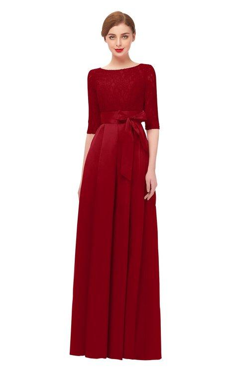 ColsBM Aisha Haute Red Bridesmaid Dresses Sash A-line Floor Length Mature Sabrina Zipper