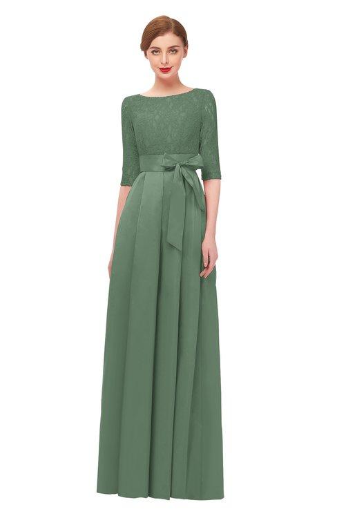 ColsBM Aisha Hedge Green Bridesmaid Dresses Sash A-line Floor Length Mature Sabrina Zipper