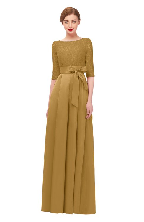 ColsBM Aisha Honey Mustard Bridesmaid Dresses Sash A-line Floor Length Mature Sabrina Zipper